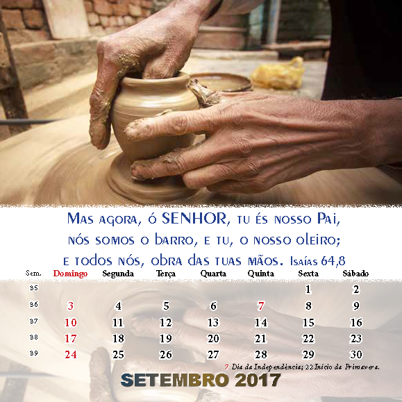 Calendário 2017 Setembro