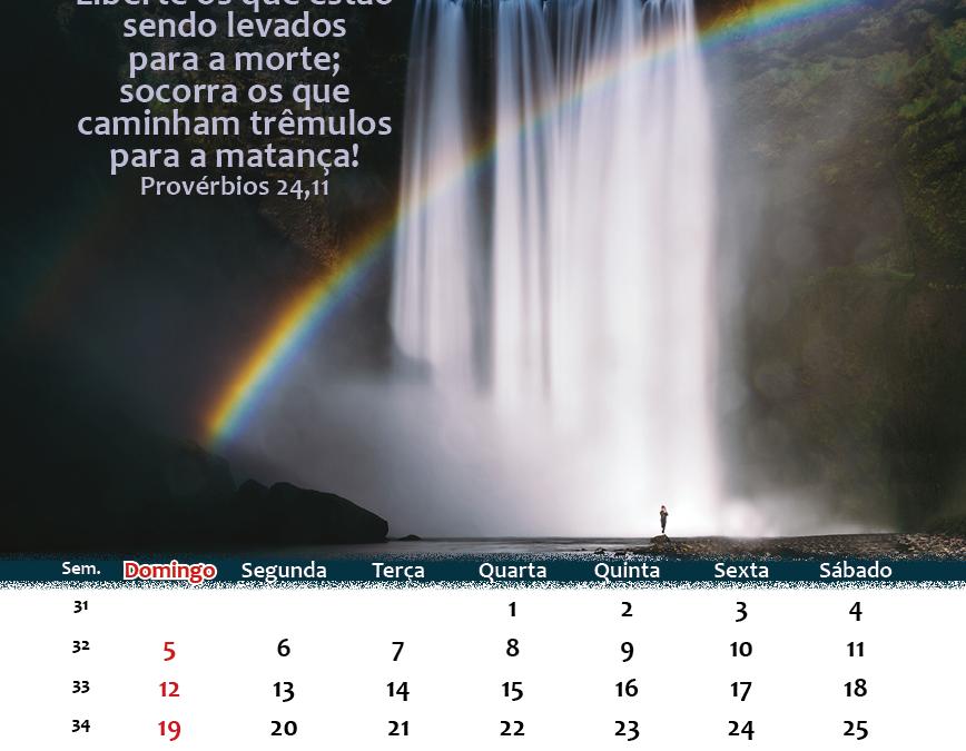Calendário de Agosto 2018