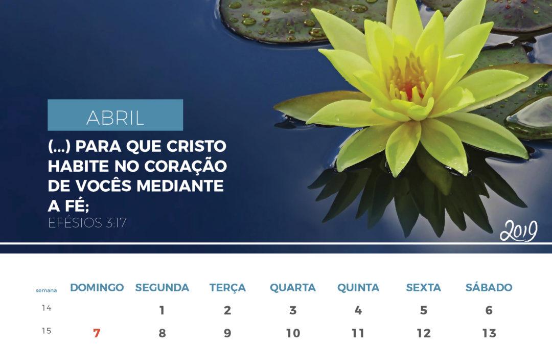 Calendário de 2019 – Abril 2019